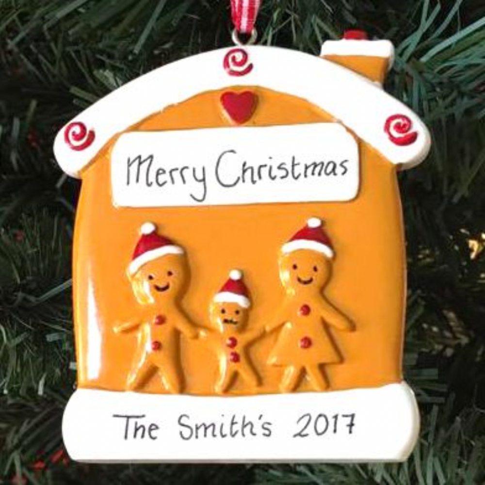 Personalised Gingerbread Family of 3